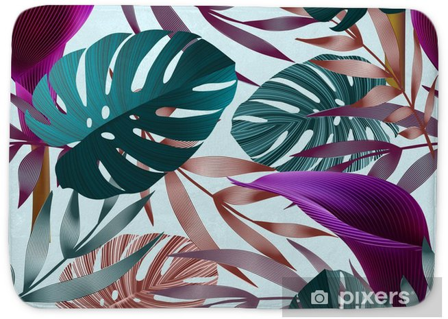 Mata łazienkowa Tropikalne kwiaty, liście, jungle bird of paradise kwiat. - Rośliny i kwiaty