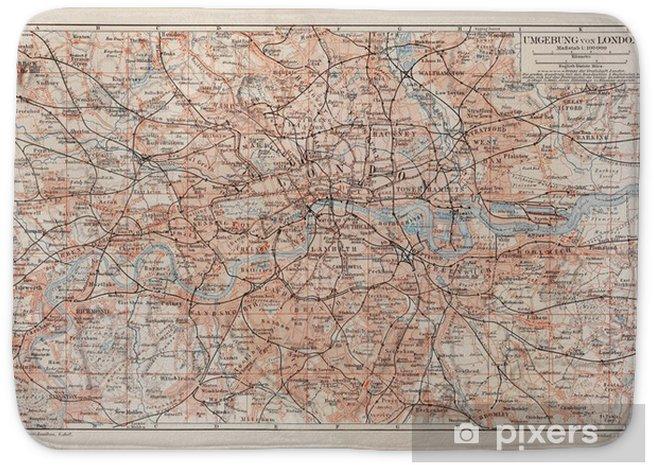 Mata łazienkowa Vintage mapa Londyn i okolice - Style