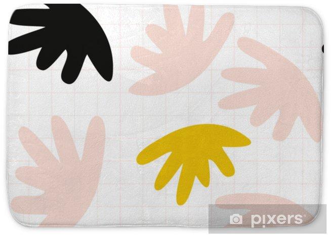 Mata łazienkowa Wektor wzór z abstrakcyjnymi organicznymi kształtami w pastelowych kolorach i prostym geometrycznym tle. - Zasoby graficzne