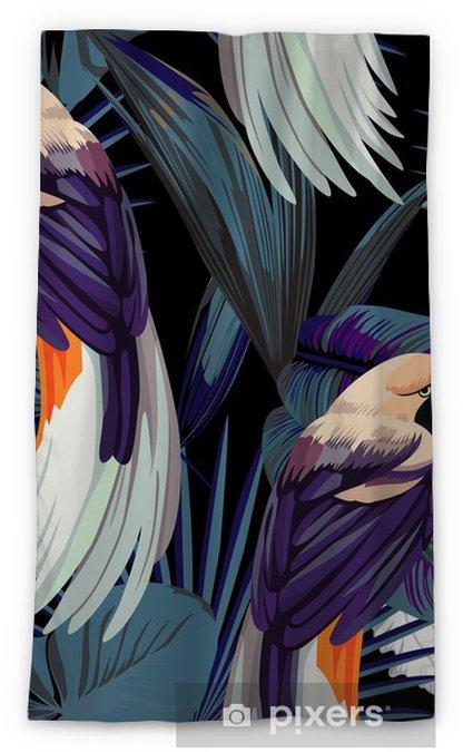 Mörkläggande fönstergardin Fåglar, orkidéer och natt djungel sömlös bakgrund - Djur