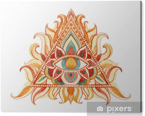 Obraz na Aluminium (Dibond) Akwarela All Seeing symbol oka w piramidzie. - Religia i kultura
