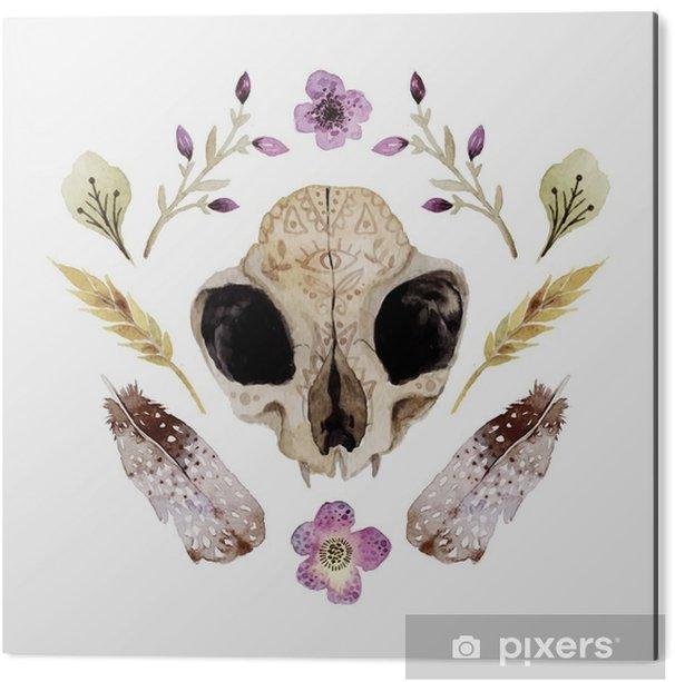Obraz na Aluminium (Dibond) Akwarele ilustracji wektorowych boho z czaszką - Zasoby graficzne