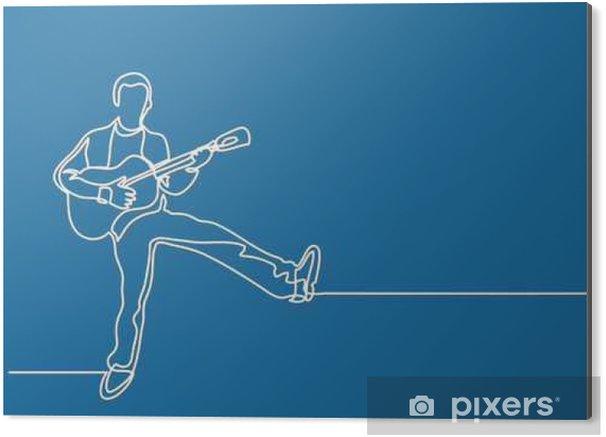 Obraz na Aluminium (Dibond) Ciągła linia rysunek szczęśliwy mężczyzna gra na gitarze - Styl życia