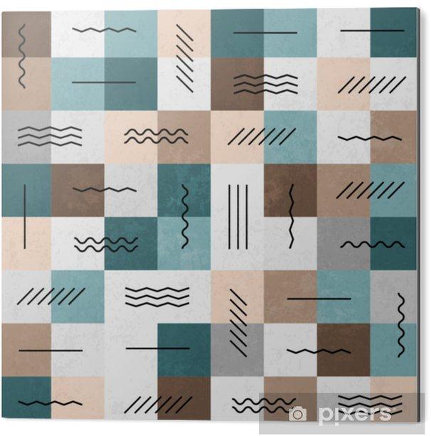 Obraz na Aluminium (Dibond) Geometryczne linie i kwadraty wzór. retro kolory. tekst - Zasoby graficzne