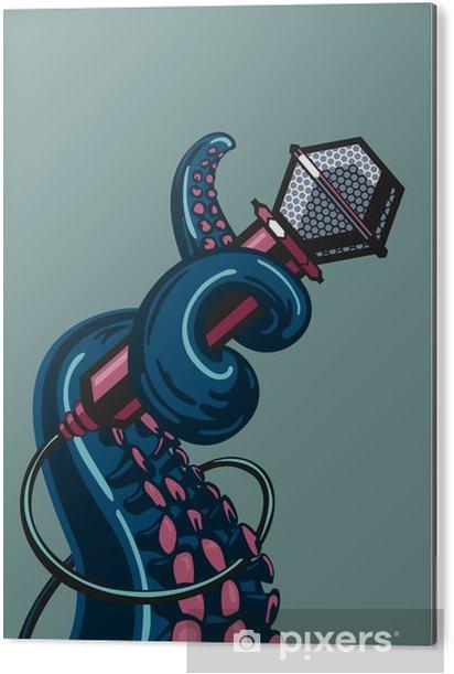 Obraz na Aluminium (Dibond) Octopus wąs trzyma mikrofon. Szablon plakatów muzycznych - Hobby i rozrywka