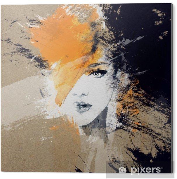 Obraz na Aluminium (Dibond) Portret kobiety .abstract tle akwarela .fashion - Ludzie
