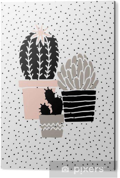 Obraz na Aluminium (Dibond) Wyciągnąć rękę Cactus Plakat - Zasoby graficzne