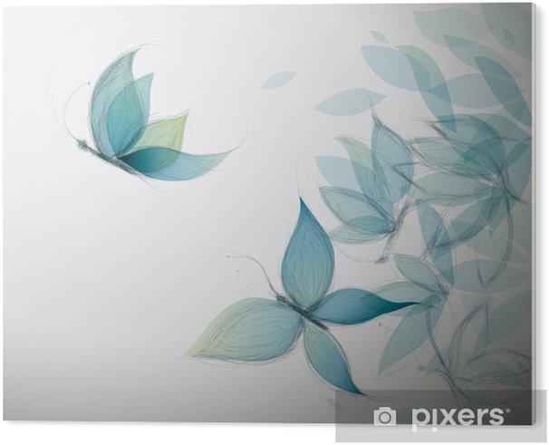 Obraz na PCV Lazurowe kwiaty jak motyle / szkic surrealistyczne - Style
