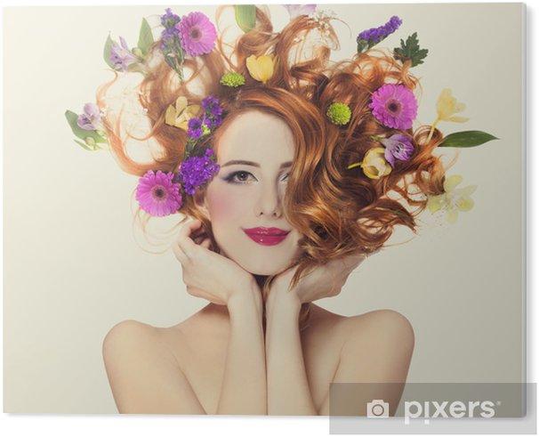 Obraz na PCV Piękne dziewczyny rude z kwiatów samodzielnie. -