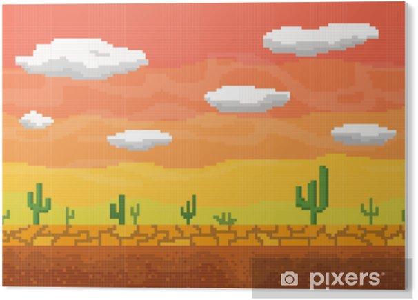 Obraz na PCV Pixel art pustyni bezszwowe tło. - Krajobrazy