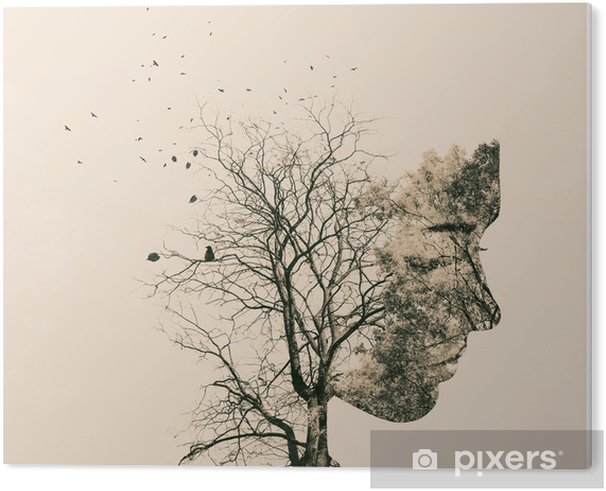 Obraz na PCV Podwójny portret narażenia młodej kobiety i jesiennych drzew. - Ludzie