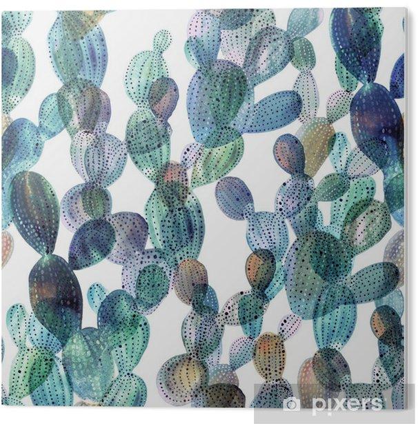 Obraz na PCV Wzór Kaktus w stylu akwareli - Rośliny i kwiaty
