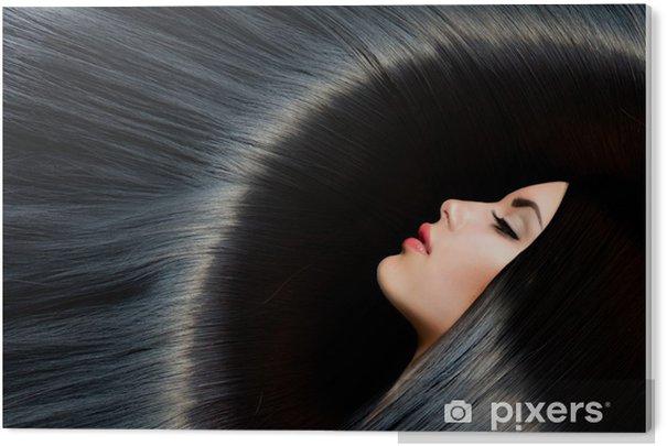 Obraz na PCV Zdrowe długie czarne włosy. Piękna Brunetka Kobieta - Moda