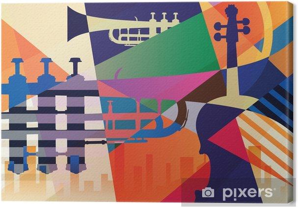 Obraz na plátně Abstraktní jazzový plakát, hudební pozadí - Grafika