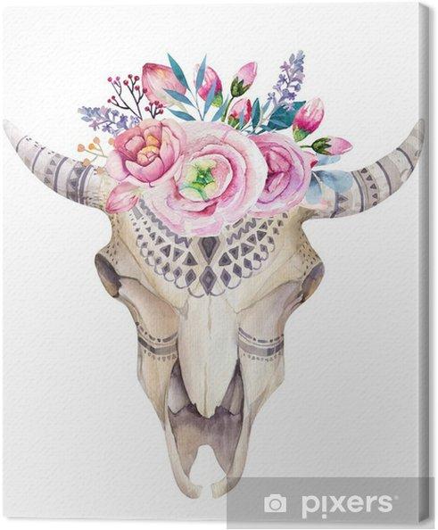 Obraz na plátně Akvarel kráva lebka s květinami a peří dekorace. Boho - Zvířata