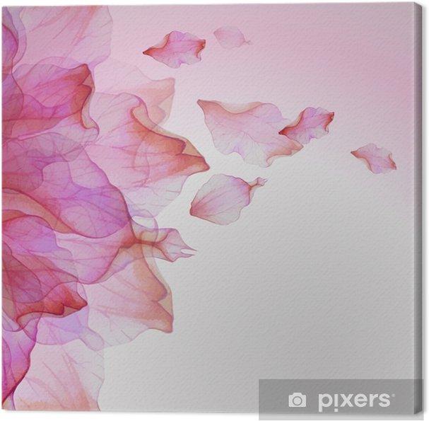 Obraz na plátně Akvarel květinovým vzorem s okvětními lístky - Rostliny a květiny