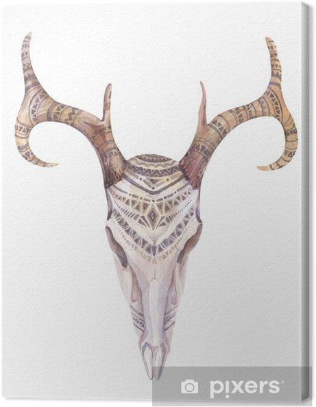 Obraz na plátně Akvarel lebka s květinami, šípy a peří. Boho triba - Zvířata
