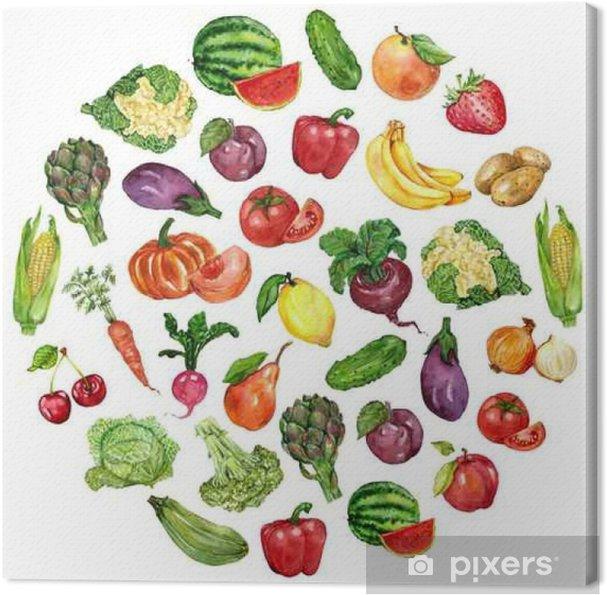 Obraz na plátně Akvarel set s ovocem a zeleninou - Jídlo