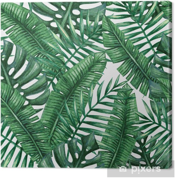 Obraz na plátně Akvarel Tropické palmové listy bezproblémové vzor. Vektorové ilustrace. - Grafika