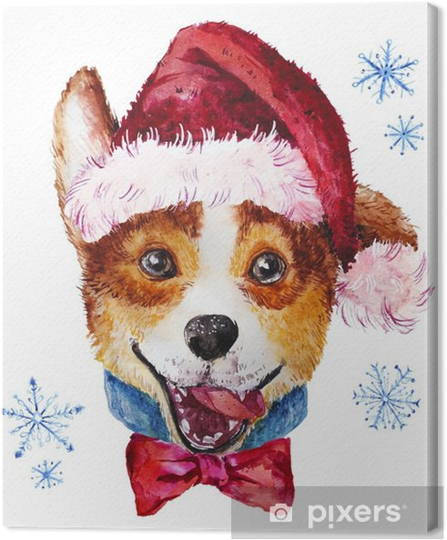 Obraz Na Platne Akvarel Umelecky Vanocni Pes V Klobouku Portret