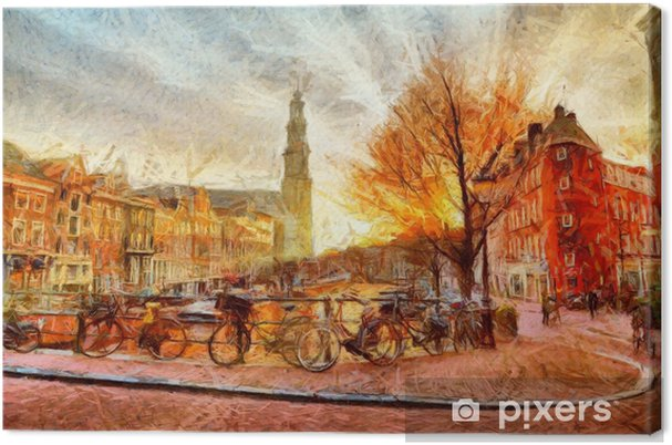 Obraz na plátně Amsterdamský kanál při večerním impresionistickém malování - Krajiny