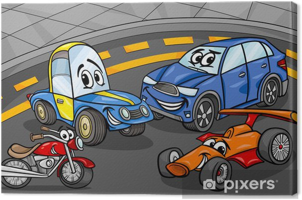 Obraz Na Platne Auta Vozidla Skupiny Kreslene Ilustrace Pixers