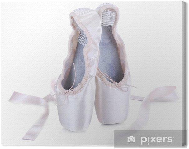 bd03928d057 Obraz na plátně Baletní pointe boty izolovaných na bílém pozadí ...