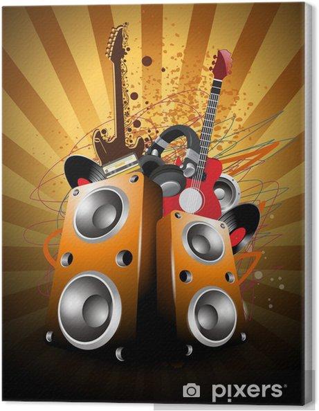 Obraz na plátně Barevné abstraktní hudební pozadí s hlasitými reproduktory a guit - Pozadí
