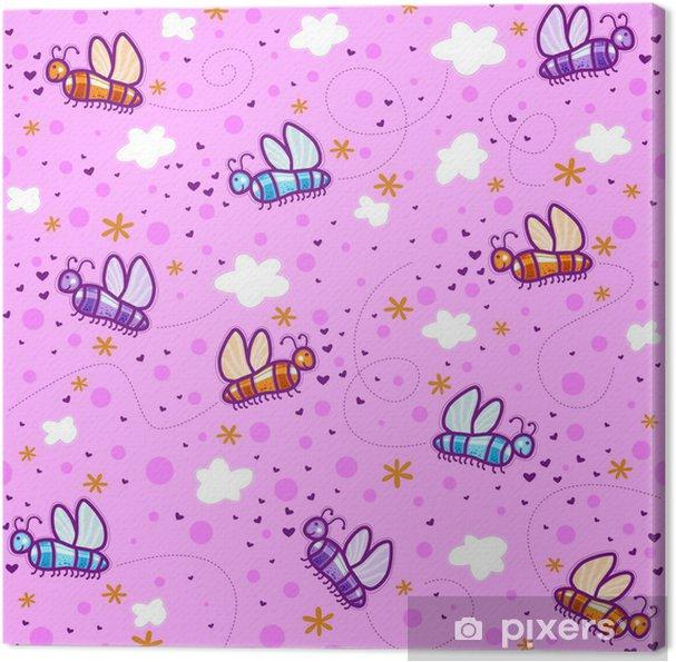 5af838790ef2 Obraz na plátně Barevné motýly na růžové obloze s mraky a srdce ...