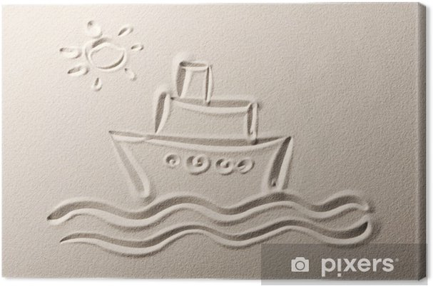 Obraz Na Platne Beach Pozadi Kresba Vyletni Lodi Pixers Zijeme