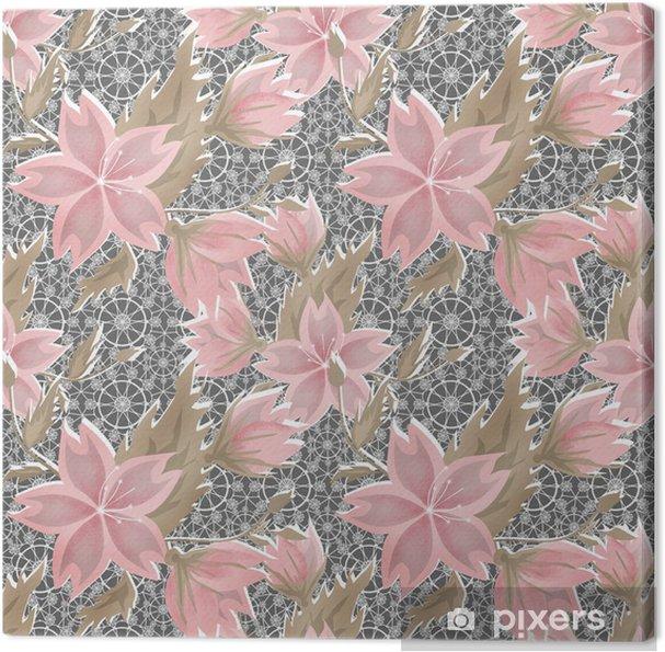 Obraz na plátně Bezešvé květinový bílý krajkový vzor na šedý - Pozadí
