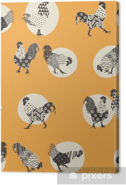 Obraz na plátně Bezešvých textur s kohouti, ornamenty handmade kohout - symbol 2017 - Zvířata