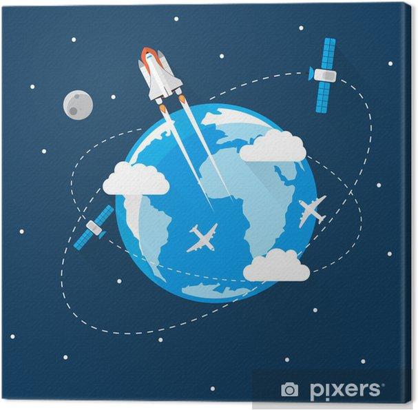 Obraz na plátně Blue Earth ve vesmíru Moderní plochý design - Prvky podnikání