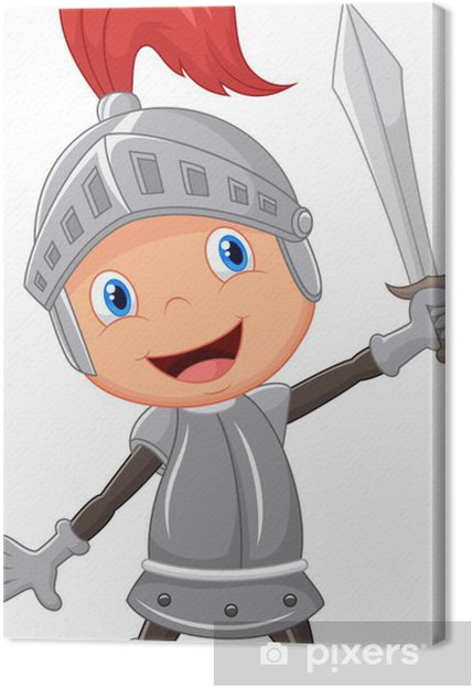 Obraz na plátně Cartoon rytíř chlapec - Rytíři