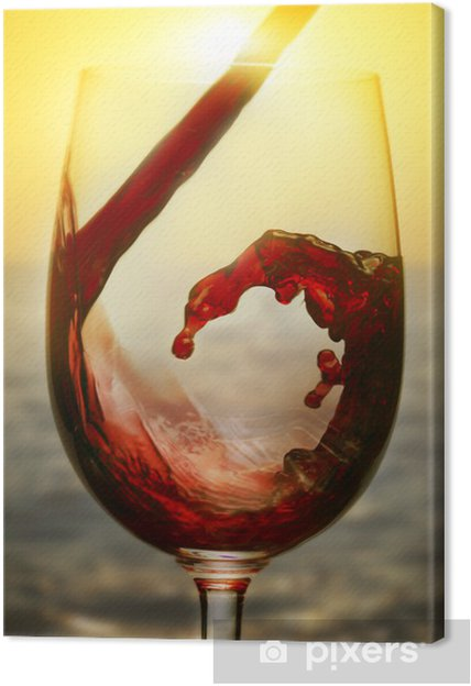 Obraz na plátně Červené víno a západ slunce - Témata