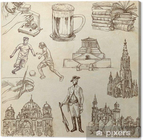 Obraz Na Platne Cestovani Nemecko Rucni Kresby Stary Papir Cast