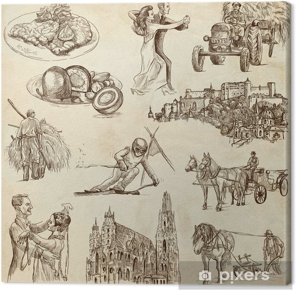 Obraz Na Platne Cestovani Rakousko Rucni Kresby Stary Papir 1
