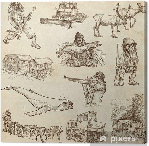 Obraz Na Platne Cestovani Scandinavia Nastaven 3 Rucni Kresby Na