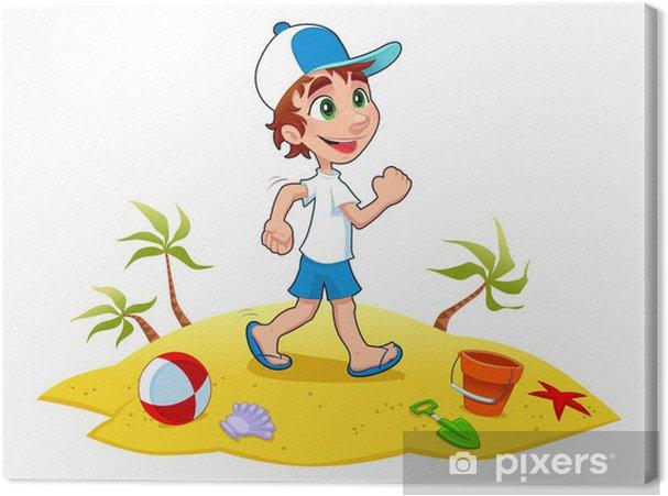 Obraz Na Platne Chlapec Je Chuze Na Pisku Vector A Kreslene