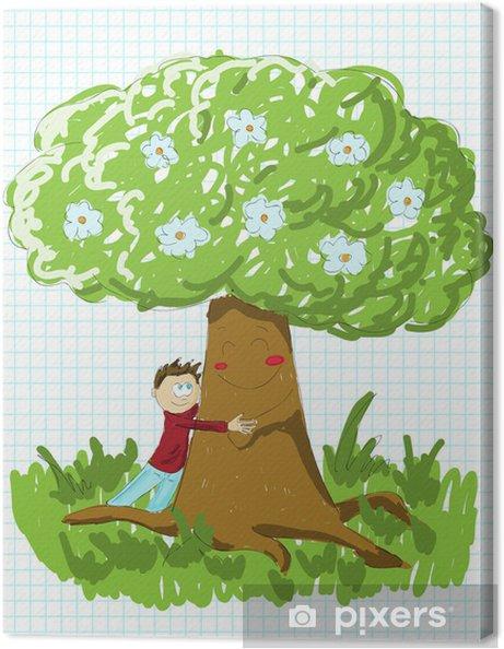 Obraz na plátně Chlapec objímat strom - Roční období