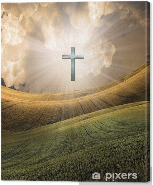 Obraz na plátně Cross vyzařuje světlo na obloze - Náboženství