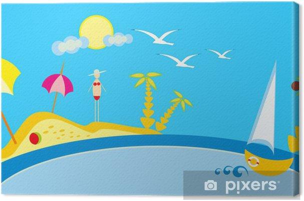 Obraz Na Platne Detska Kresba Plaz A More Slunce A Nebe Pixers