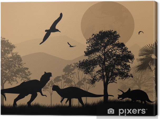 Obraz na plátně Dinosauři siluety v krásné krajině - Témata