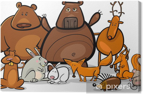 Obraz Na Platne Divoka Lesni Zvirata Skupina Kreslene Ilustrace