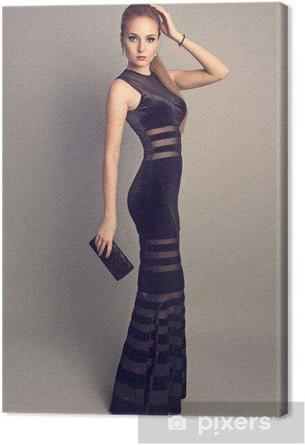 Obraz na plátně Docela tenký model nosí elegantní večerní šaty ... 713d71da6e