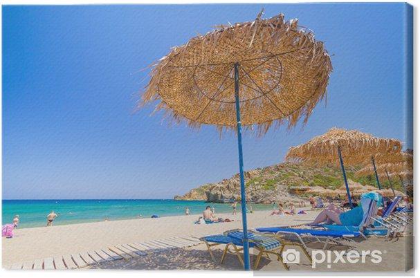 Obraz na plátně Dovolená na pláži Egejského moře, Kréta - Evropa