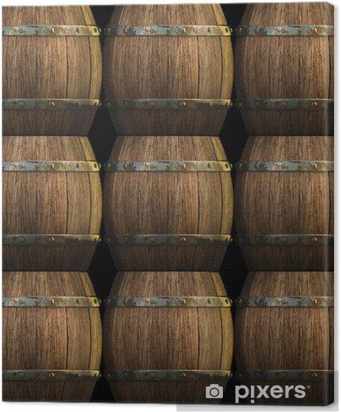 Obraz na plátně Dřevěné sudy na pozadí 3d - Průmyslové nástroje