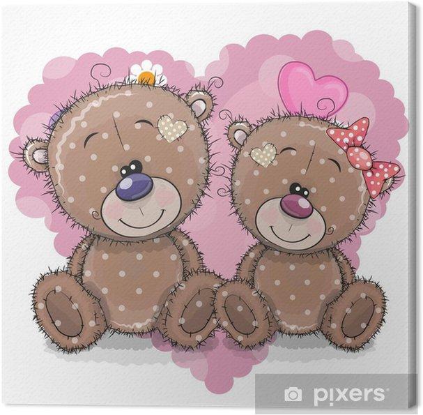 Obraz Na Platne Dva Kreslene Medvedi Na Pozadi Srdce Pixers