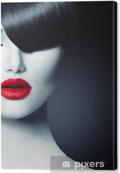 Obraz na plátně Fashion Glamour Beauty Girl With Trendy Fringe účes - Móda