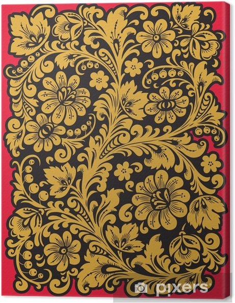 Obraz na plátně Folk Khokhloma. Ornament ve stylu ruské národní tradici - Rostliny a květiny